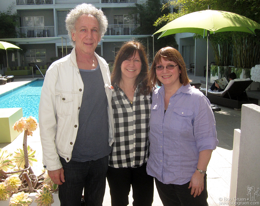 Feb 25 - Los Angeles - Staying at my 'home away from home' the Sunset Marquis hotel, I ran into Karen Whitford, wife of Aerosmith guitarist Brad Whitford. Karen was my photo assistant in the '70's and hired Karla Merrifield, (on the right) who was the photo assistant who brought organization to my life. Karla came to the hotel to meet for lunch when we had this happy reunion.