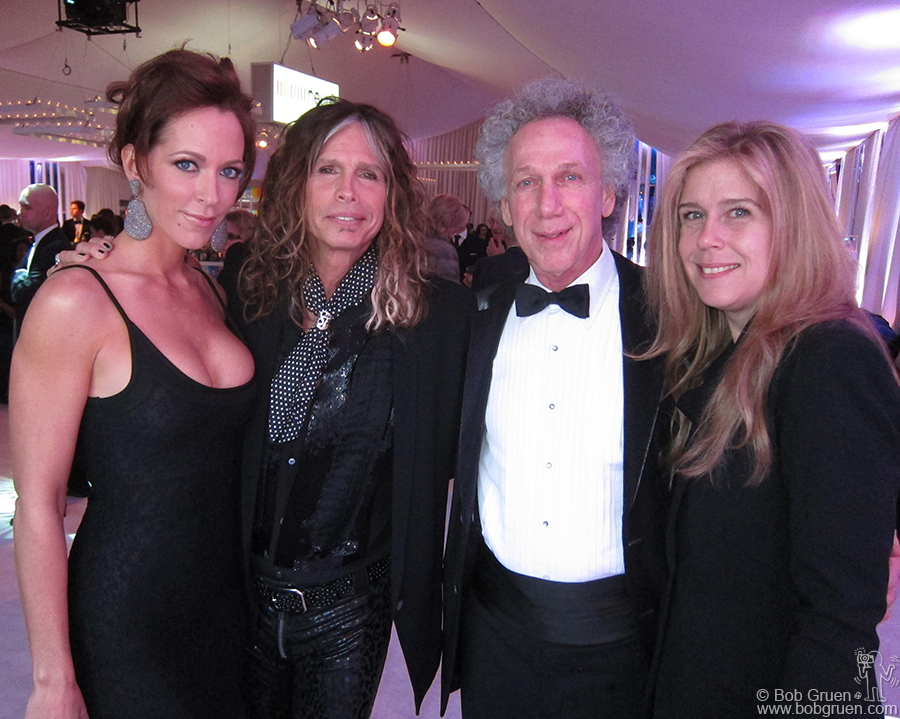 Steven Tyler was one of the guest hosts at Elton's party, and he introduced us to his fiance Erin Brady.