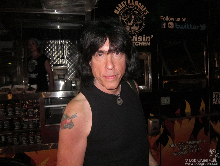 July 5 - NYC - Marky Ramone in front of his food truck 'Cruisin' Kitchen' during the CBGB festival'.