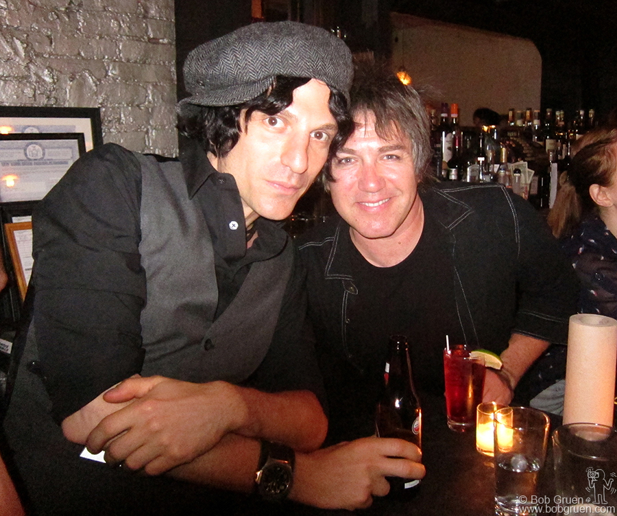 Aug 12 - NYC - Jesse Malin and Danny Sage on opening night at their new Blackbird club on Ave B, in the spot where Lakeside Lounge had been.