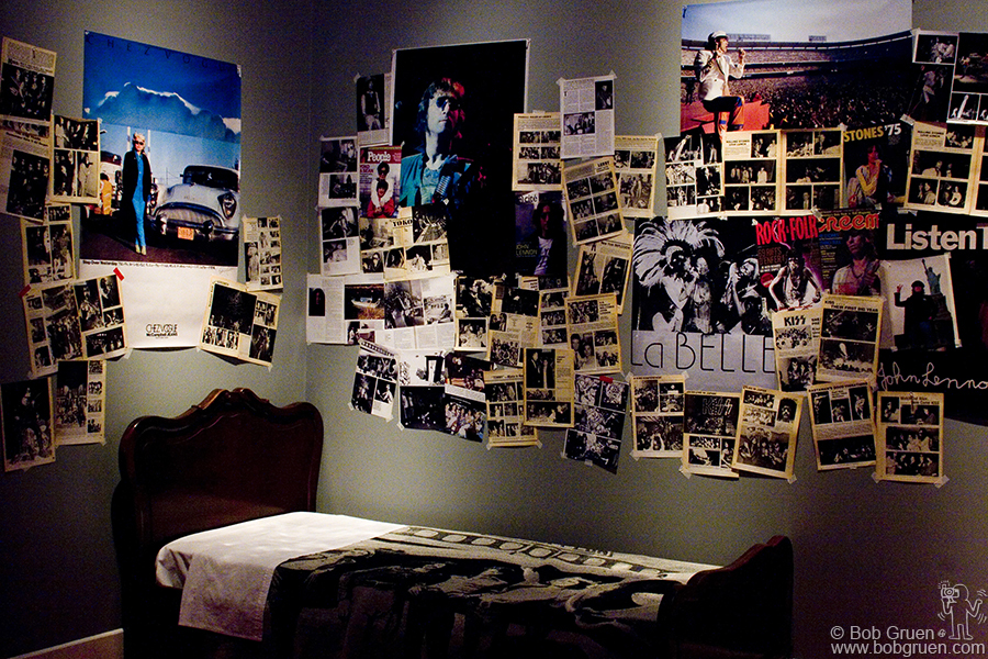 Inside the 'Danger Zone' is a 'Teenage Bedroom' with posters and magazine covers and photo stories pasted on the walls, accompanied by a rock and roll radio soundtrack by Jerry Blavat of South Philly radio fame.