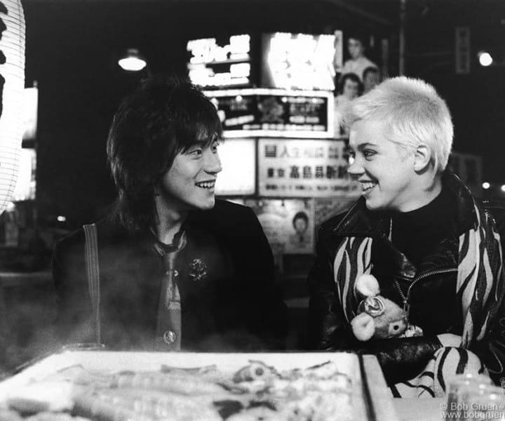 Yutaka Tadokoro and Carrie Hamilton, Tokyo, Japan. June 1987. <P>Image #: R-490 © Bob Gruen