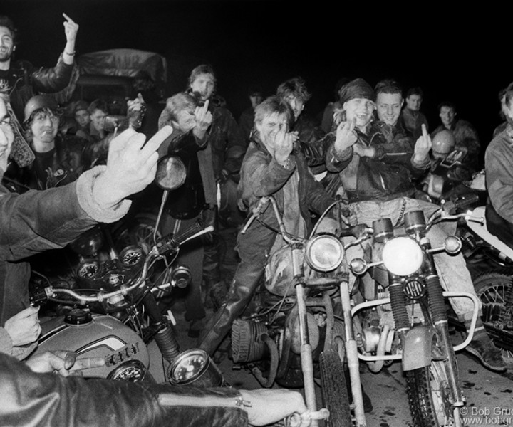 Moscow Bikers, Moscow, Russia. August 1989. <P>Image #: R-506  © Bob Gruen