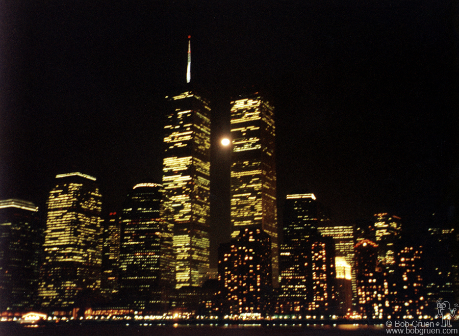 This 2001 picture of the Trade Center is from a boat on the Hudson River. You can see the full moon between the towers.