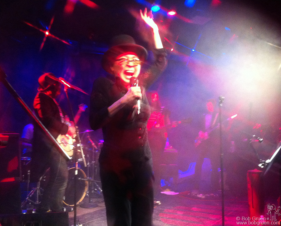 Feb 18 - NYC - We rushed back to New York to go to Yoko Ono's 79th birthday party where she rocked out with a great band led by her son Sean.