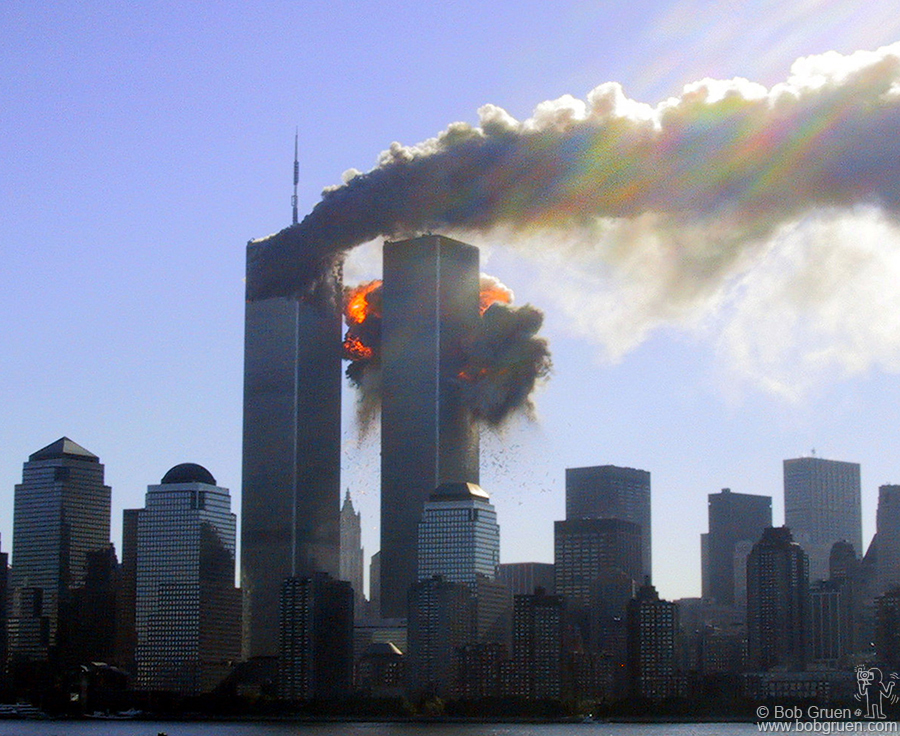 The south tower explodes after the plane flew into it. A few minutes later a policeman closed the park and I headed home.