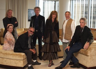 June 20 - Photographers featured in a short film at the Annenberg exhibit gathered for a preview - above left to right; Norman Seef, Jill Furmanovsky, Guy Webster, Bob Gruen, Lynn Goldsmith, Henry Diltz and Edward Colver.