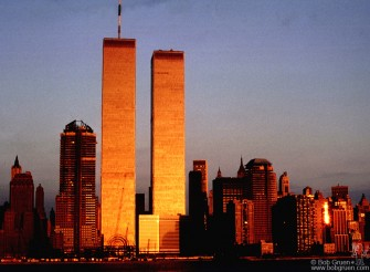 Sunset reflects on the Twin Towers.