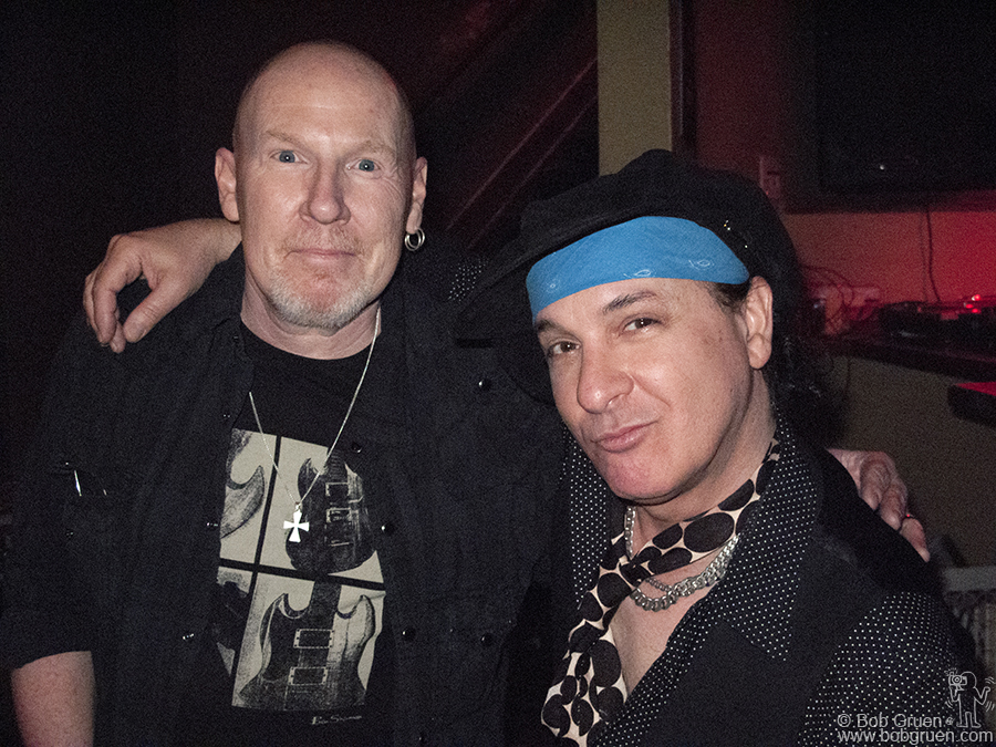 "March 18 - Austin, TX - Cheetah Chrome & Syl Sylvain showed their new band ""Batusis"" at the Prague club. It was so crowded with friends that it reminded some of CBGB in the old days."