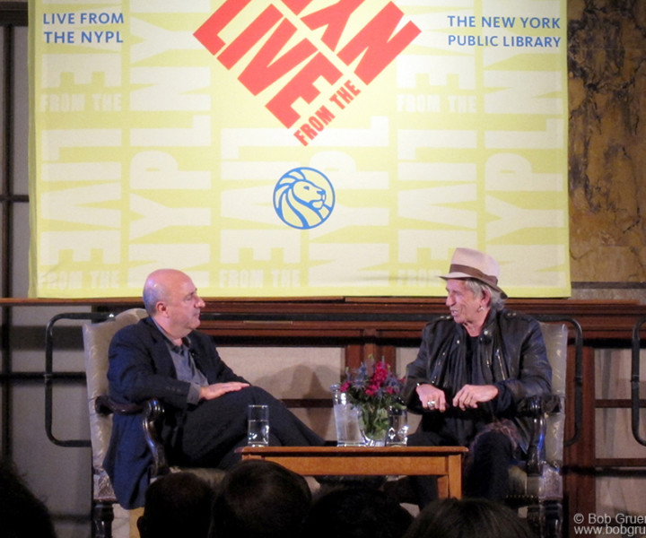 Oct 29 - NYC - Anthony DeCurtis interviewed Keith Richards at the New York Public Library Main branch in a very formal room to have a very informal conversation about Keith's life and the release of Keith's book 'Life'. Keith was great and I'm very happy he chose to include a photo of mine in his book.