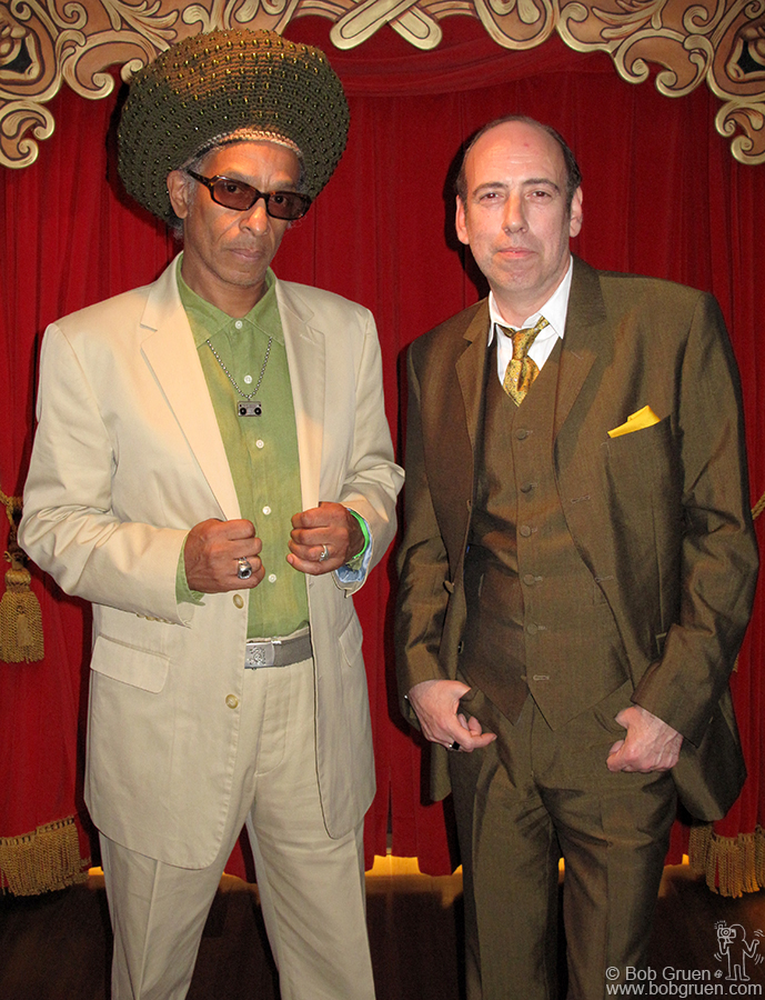 Aug 2 - NYC - Don Letts and Mick Jones backstage at Jimmy Fallon's Late Night show.