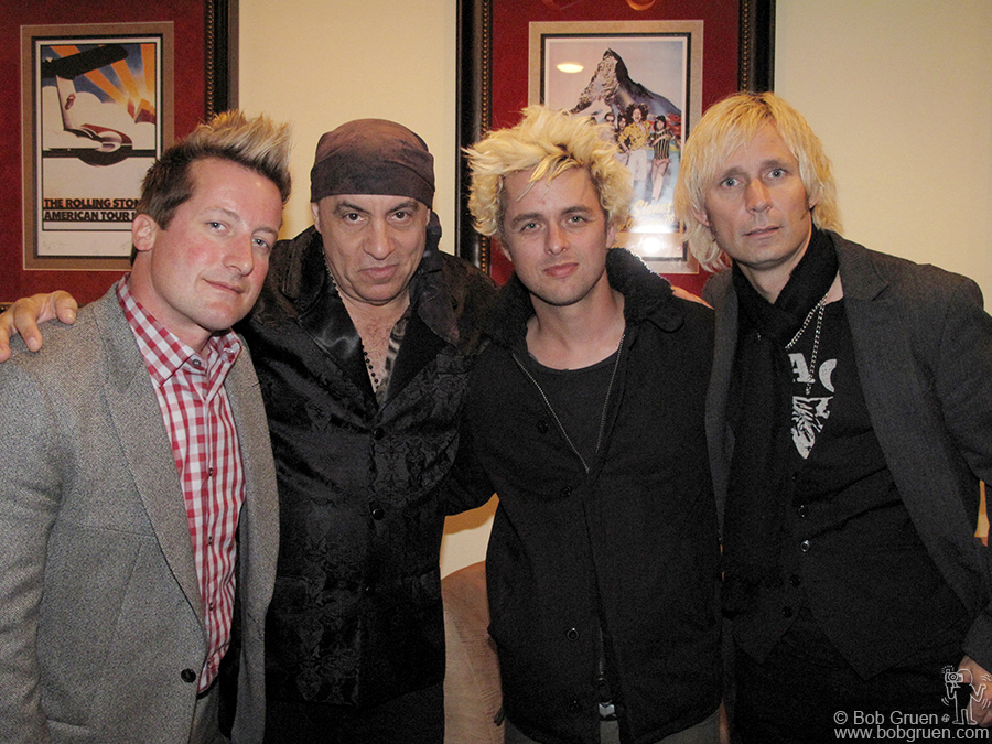 Oct 21 - NYC - Green Day was in New York for 2 weeks working out new songs and stopped by Little Steven's party for the 500th broadcast of his syndicated radio show.