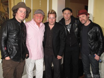 Beach Boy Bruce Johnson met members Green Day in the lobby of the hotel in Dublin. Above: Jason White, Bruce, Trey Cool, Mike Dirnt and Chris Dugan.