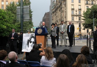 Yoko Ono joined Mayor Bloomberg to announce that the new American Masters documentary, 'LENNONYC' would be shown in Central Park on Oct 9th, John's 70th birthday.
