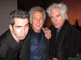 Art Director/Photographer Josh Cheuse was the hip DJ at the opening party at the Brooklyn Museum exhibit, above, with me and our friend, director Jim Jarmusch.