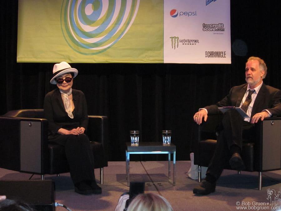 Yoko Ono was the Keynote speaker on Friday in conversation with Austin radio KUT DJ Jody Denberg. Jody interviewed me and Kris on his KUT radio show on Thursday night.
