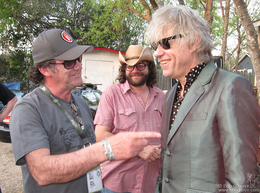 Promoter Frank Murray jokes with Sir Bob before Geldof's show at Jovita's.