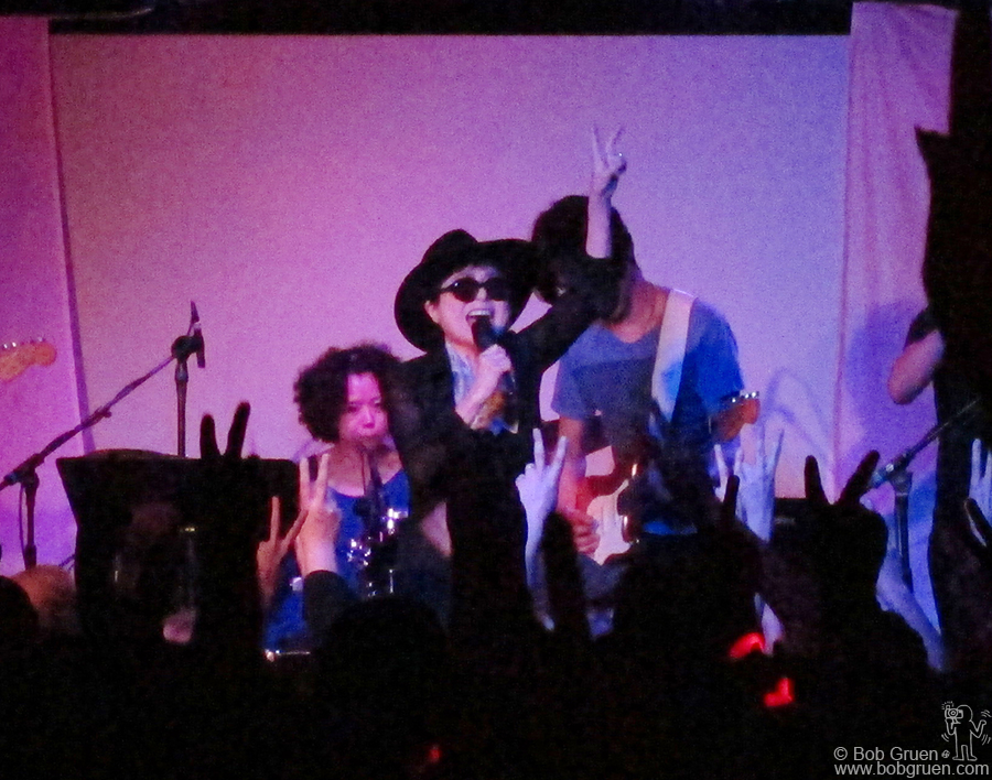 Yoko Ono was rockin like a youngster at her 1 am show at Elysium and had the crowd cheering for more.