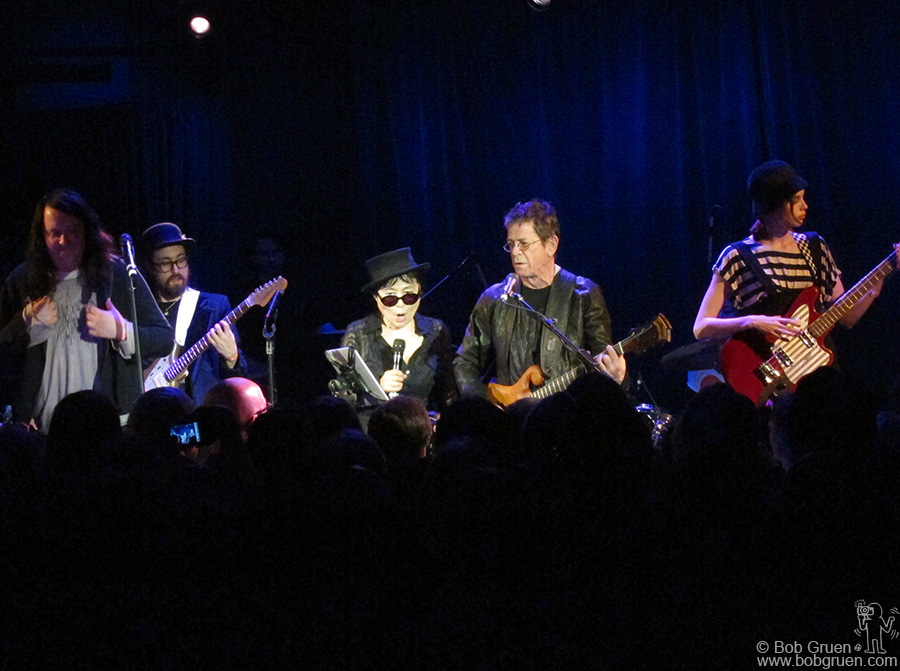 Lou Reed and Antony Hegarty joined Yoko Ono (with Sean and Charlotte Kemp Muhl) at the Japan benefit at Le Poisson Rouge.