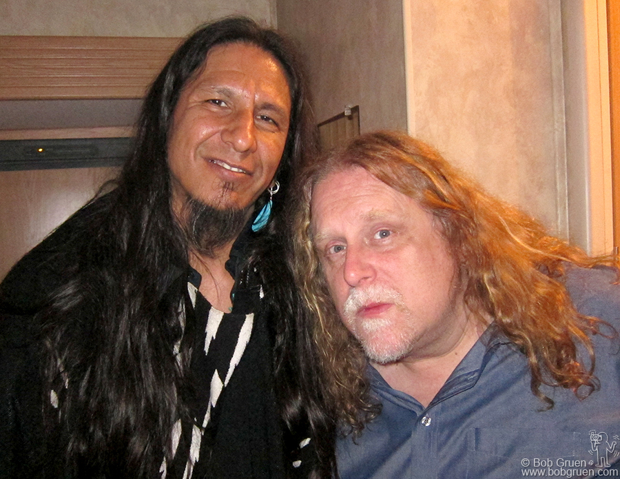 June 4 - Hunter Mountain, NY - Hook Herrera backstage with Warren Haynes after the Gov't Mule set (with Hook guesting on harmonica) at the Mountain Jam festival at Hunter Mountain.