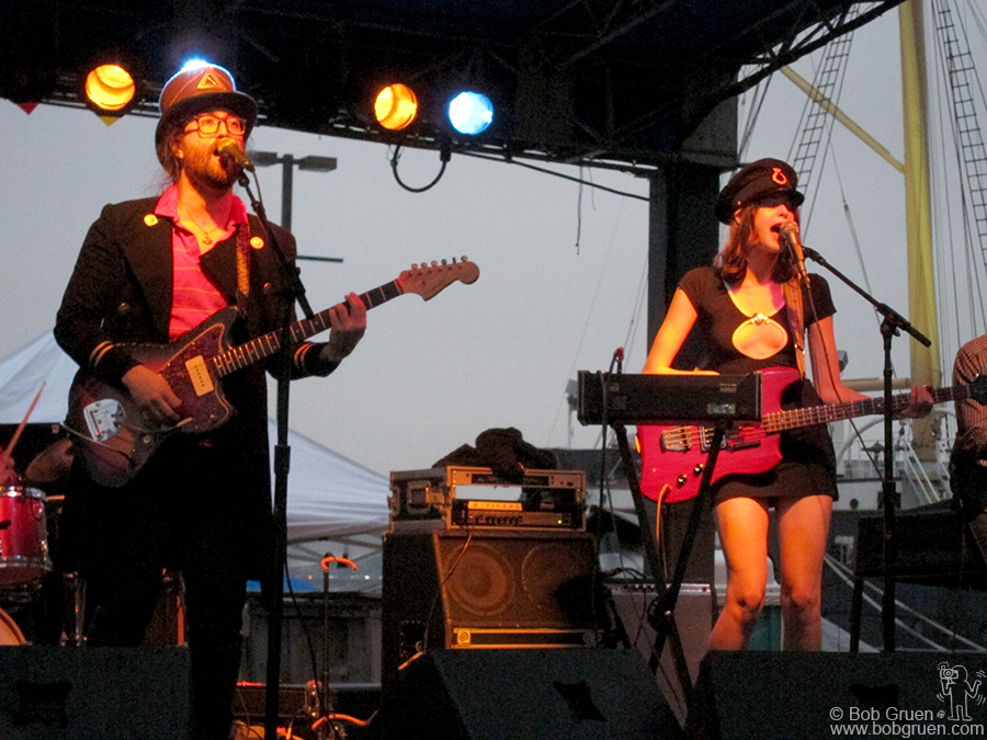 June 24 - NYC - Sean Lennon and Charlotte Kemp Muhl with their band, Ghost of a Saber Tooth Tiger were rocking a very modern sound at South Side Seaport.
