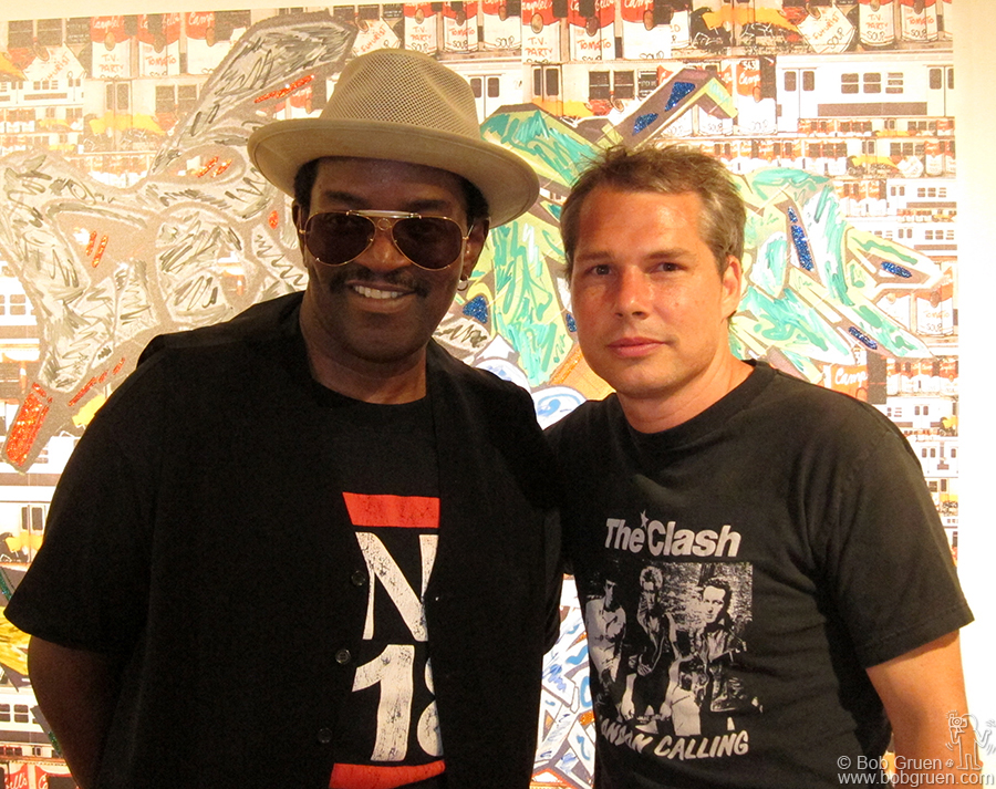 June 29 - NYC - Fab Five Freddy showed new paintings at the 151 Gallery on the Bowery and Shepard Fairey came by to see them.