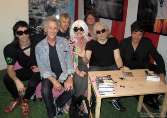 September 13 - Blondie had a party and signing for their new CD 'Panic of Girls' at the Marc Jacobs store on Bleeker street in New York, and I came by to see how the store had displayed my photos of the group.