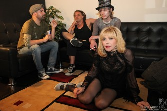 April 27 - Courtney Love with her band in the calm before her show at Terminal 5. She looks pretty relaxed but onstage she is non-stop energy and very in touch with her fans.