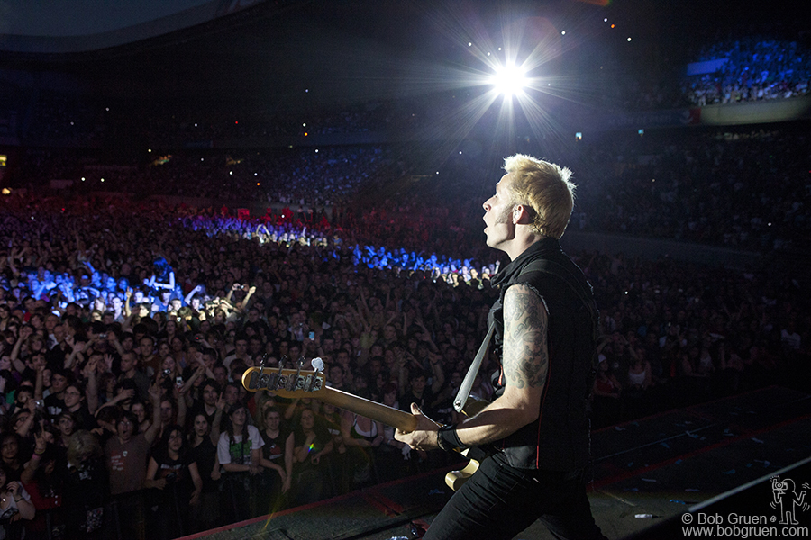Mike Dirnt keeps the music exploding and exciting.