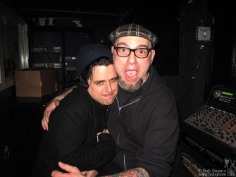 Backstage after Jesse's show Green Day's Billie Joe gave Jimmy Gestapo a big hug for doing such a fine job as guest DJ.