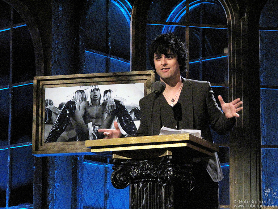 """March 15 - NYC - Green Day's Billie Joe inducted Iggy Pop & the Stooges into the Rock & Roll Hall of Fame. He quoted Scott Asheton from Legs McNeil's book """"Please Kill Me"""" and told of a very long list of bands that have been inspired by the Stooges."""