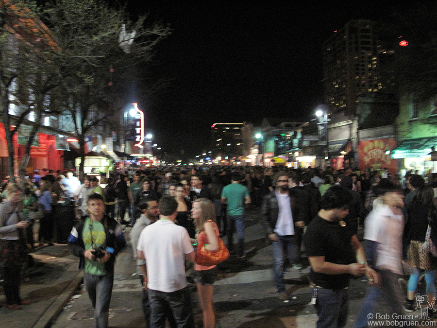 March 17 - Austin, TX - The scene on 6th street reminded me of Bourbon Street in New Orleans on a good night. There are dozens of bars, all filled with music.