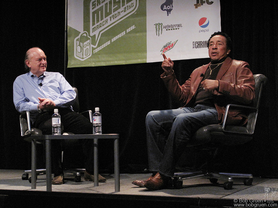 March 18 - Austin, TX - Dave Marsh led a very interesting interview with Smokey Robinson for the Keynote address.