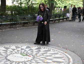 August 23 - Ozzy Osbourne, at the Imagine circle in Central Park, filmed a video tribute to John Lennon to go with his recording of Lennon's song 'How'.