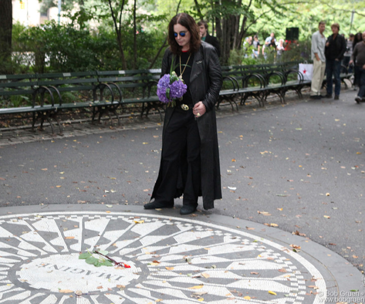 August 23 - NYC - Ozzy Osbourne, at the Imagine circle in Central Park, filmed a video tribute to John Lennon to go with his recording of Lennon's song 'How'.
