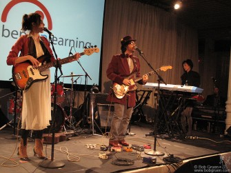 April 28 - Sean Lennon and his girlfriend Charlotte Kemp Muhl play at the benefit for Bent on Learning at the Puck building.