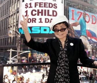 November 1 - Times Square, NY - Yoko Ono announced the start of the 'Why Hunger' campaign to help feed children around the world...click here for more info.