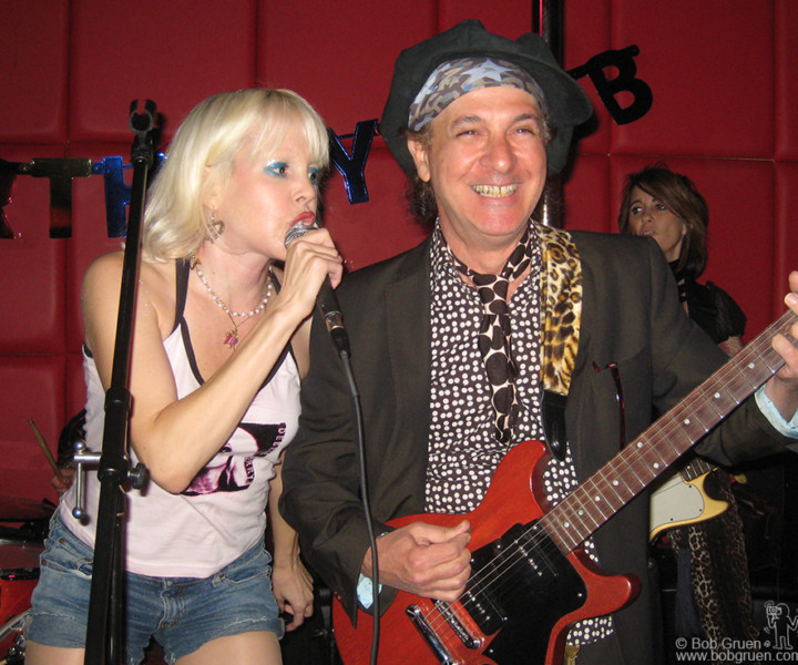 "Oct 23 - NYC - Coinciding with the release of my new book ""New York Dolls - Photographs by Bob Gruen"" all girl New York Dolls tribute band Prima Ballerina led by Tammy Faye Starlight played at my birthday party at the R Bar in New York. The highlight of the night came when original New York Doll, Sylvain Sylvain, joined them onstage and played the Dolls hit 'Trash'."