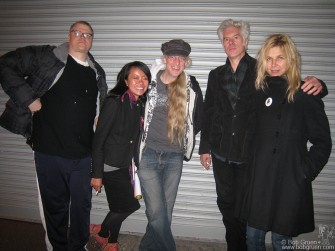 Gerb, Ethel Seno, Carlo McCormick, Jim Jarmusch and Sara Driver outside the R Bar.
