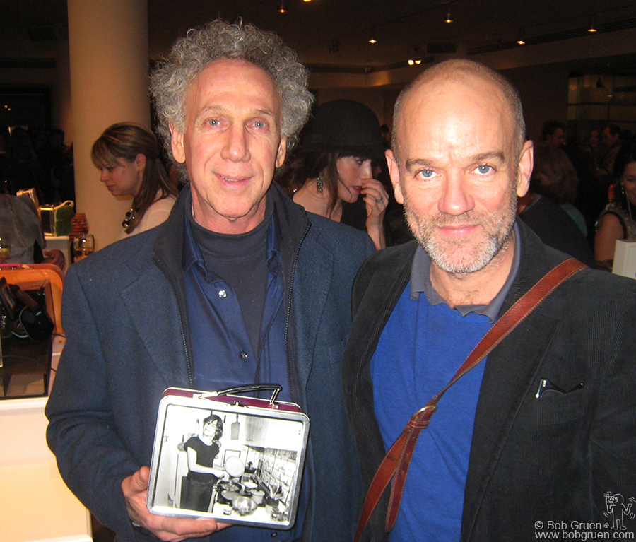 Dec 11 - NYC - At the lunchbox benefit for The Food Bank for New York City I showed my design to Michael Stipe, one of the organizers of the event.