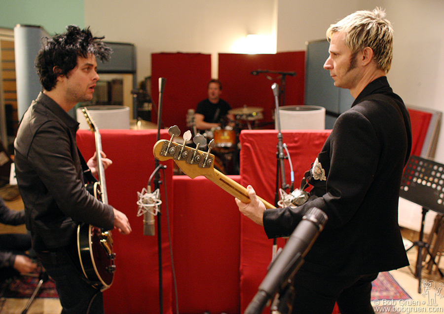March 30 - NYC - Green Day finished their new album 'Twenty First Century Breakdown' in New York, and immediately went into a studio to start making new songs. I stayed up with them till 7:30 am and had a great time watching them work.