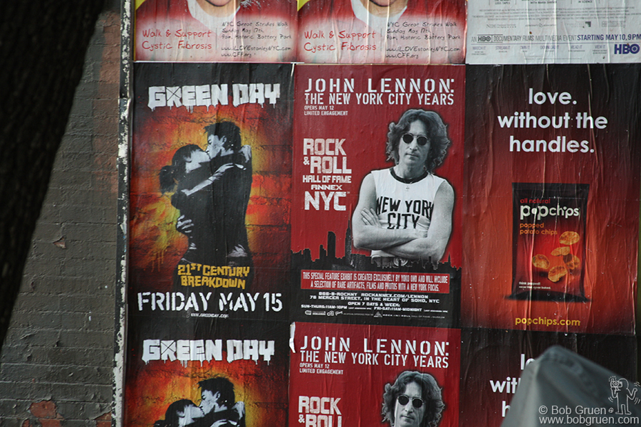 Advertisements for Green Day's '21st Century Breakdown' and 'John Lennon: The New York City Years' at the Rock & Roll Hall of Fame Annex.