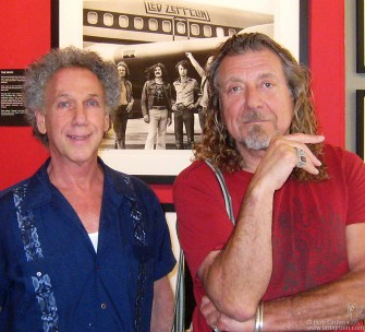 June 12 - While Robert Plant was in New York he stopped by Bob Gruen's 'Rockers' exhibition at the Morrison Hotel Gallery on the Bowery, and posed for a photo with Bob.