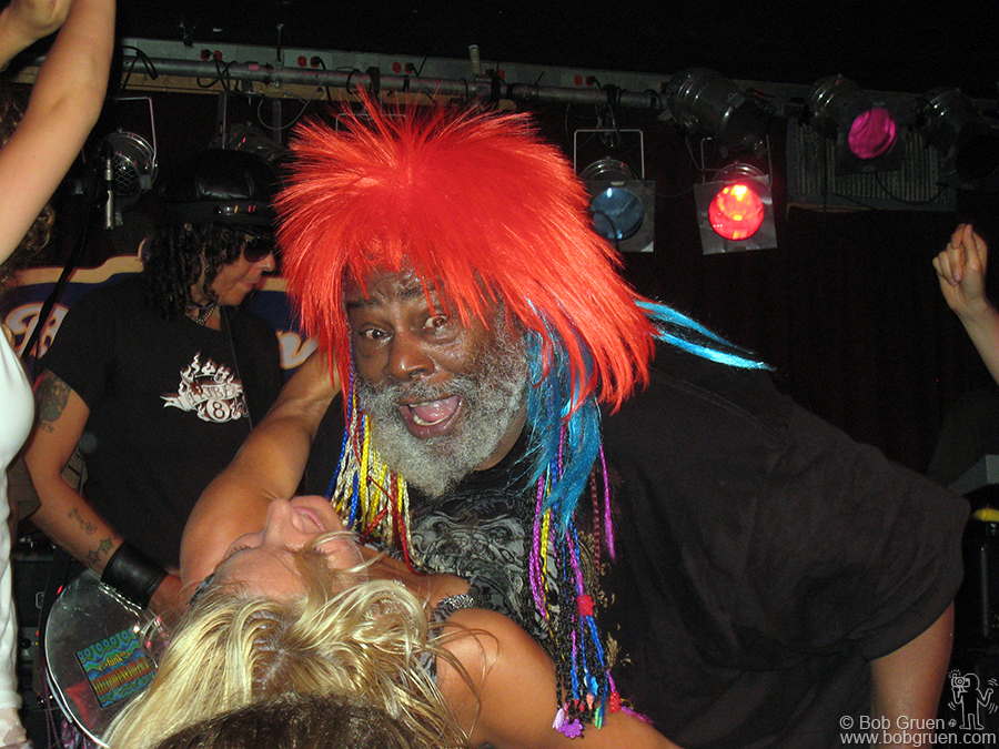July 8 - NYC - George Clinton gets down and dirty during his show at B.B. King's club and he's obviously enjoying it.