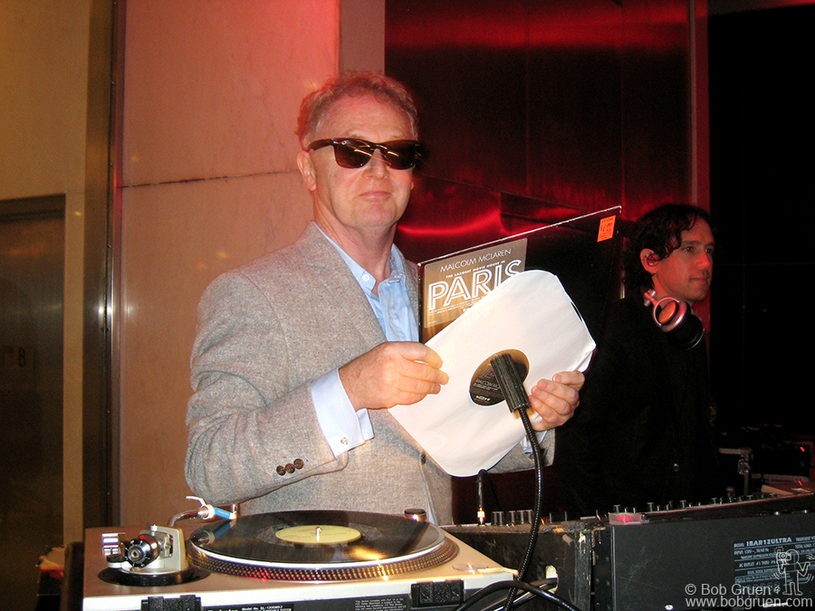 May 8 - NYC - Malcolm McLaren was the DJ at artist Tom Sachs' party at Lever House on Park Avenue. Malcolm recently unveiled his new series of very sexy videos on the big VH1 screen in Times Square.