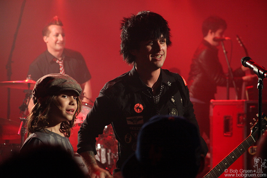 Young fan Jake crowd-surfed to the stage to meet Billie Joe.