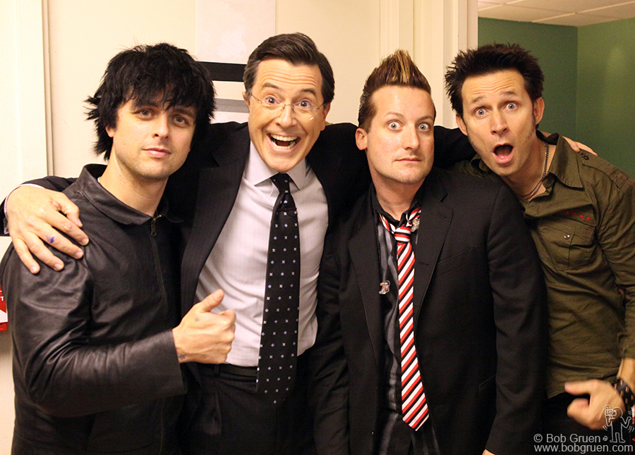 May 21 - NYC - Green Day with Stephen Colbert backstage at the Colbert Report.