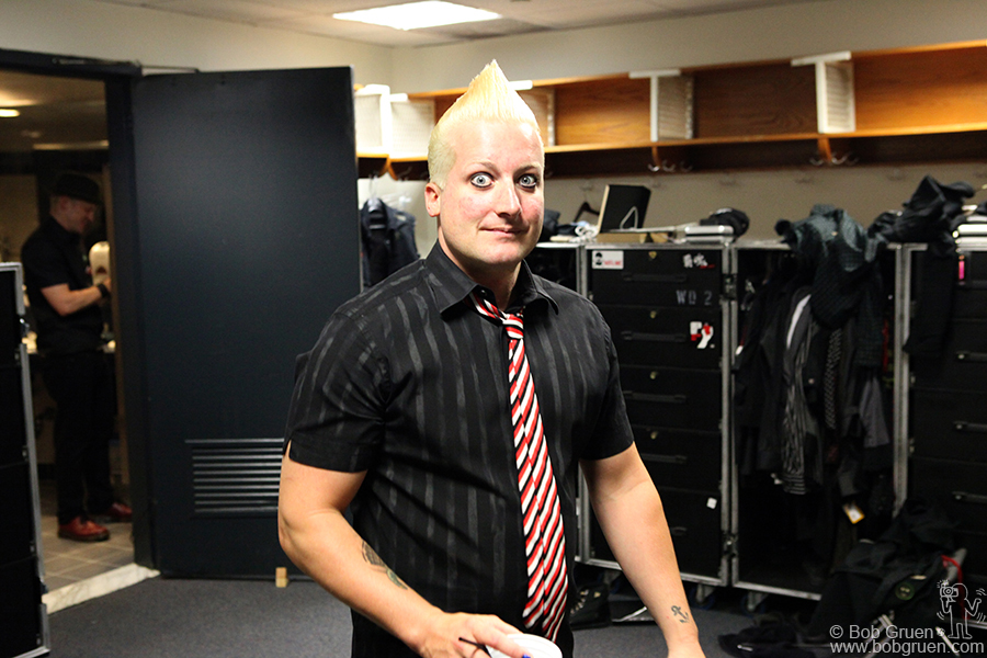 Tre Cool in the band's dressing room.