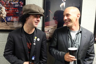 Billie Joe shares a laugh with Green Day Manager Pat Magnarella.
