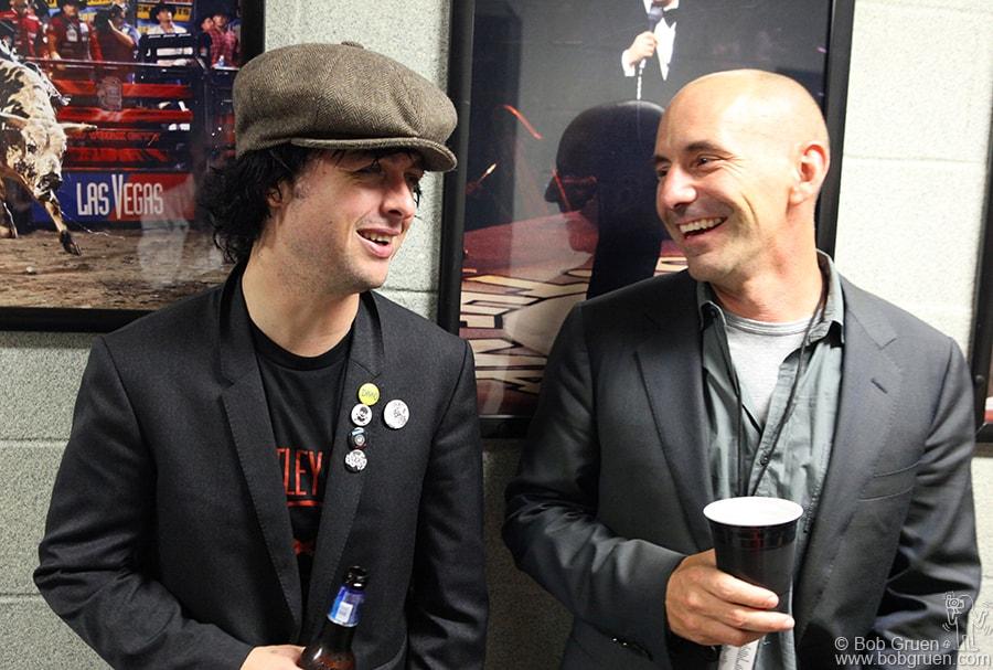 Billie Joe shares a laugh with Green Day Manager Pat Magnarella.
